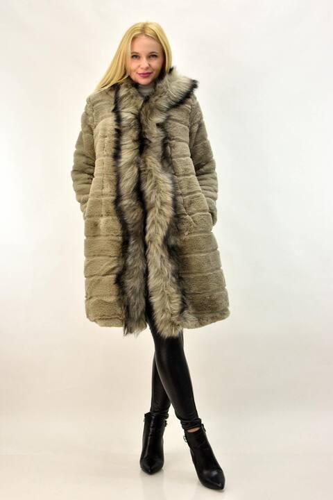 Γυναικείο παλτό από συνθετική γούνα - Καφέ