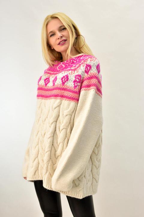 Πλεκτή πουλόβερ oversized - Εκρού