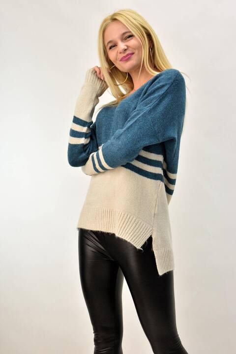 Γυναικεία πλεκτή μπλούζα ασύμμετρη  - Πετρόλ