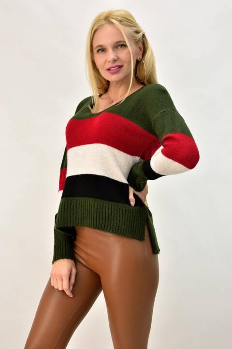Γυναικεία πλεκτή μπλούζα ασύμμετρη - Χακί