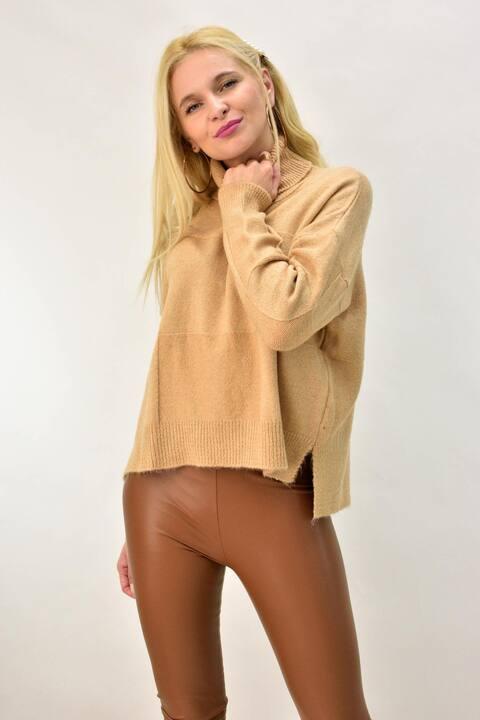 Γυναικείο πουλόβερ oversized - Μπεζ
