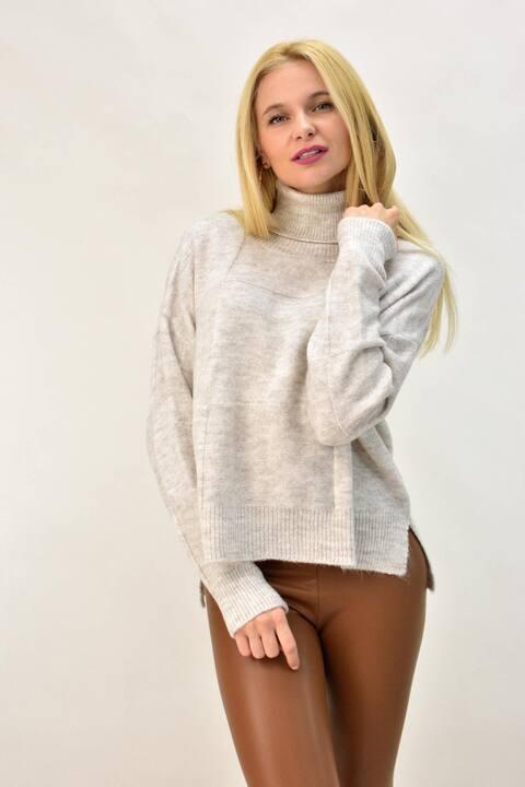 Γυναικείο πουλόβερ oversized - Εκρού