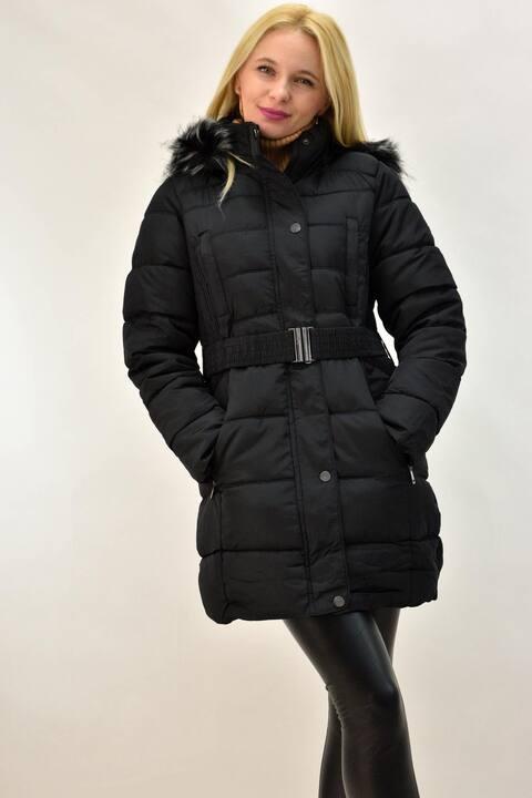Μπουφάν με εσωτερική γούνα Plus size - Μαύρο