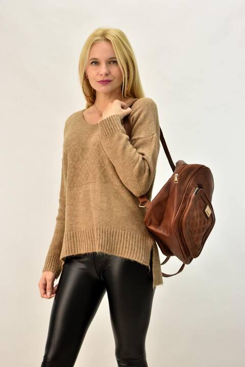 Γυναικείο πλεκτό πουλόβερ με V - Καφέ