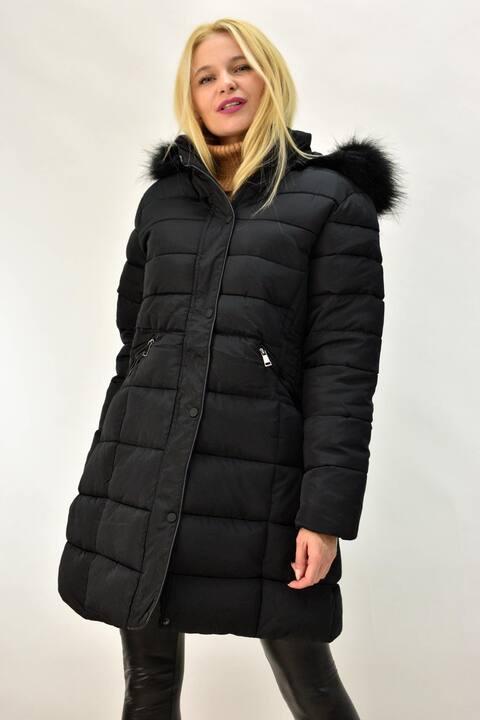 Γυναικείο μπουφάν καπιτονέ Plus size - Μαύρο