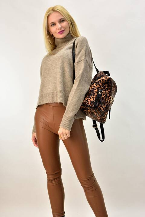 Γυναικείο πουλόβερ με ζιβάγκο - Μπεζ