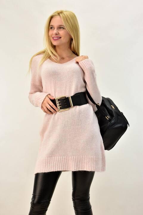 Φορεμα Πουλόβερ με V - Απαλό Ροζ
