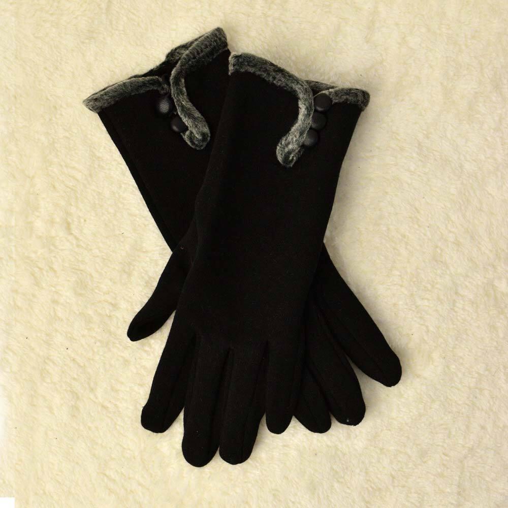 Γυναικεία γάντια με διακοσμητικά κουμπάκια και γουνάκι στο πάνω μερος