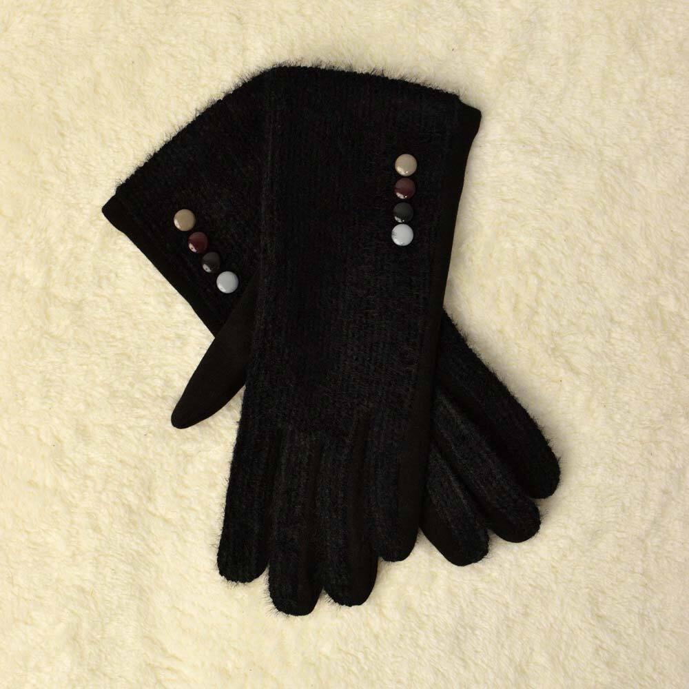 Γυναικεία γάντια χνουδωτό με λεπτομέρειες