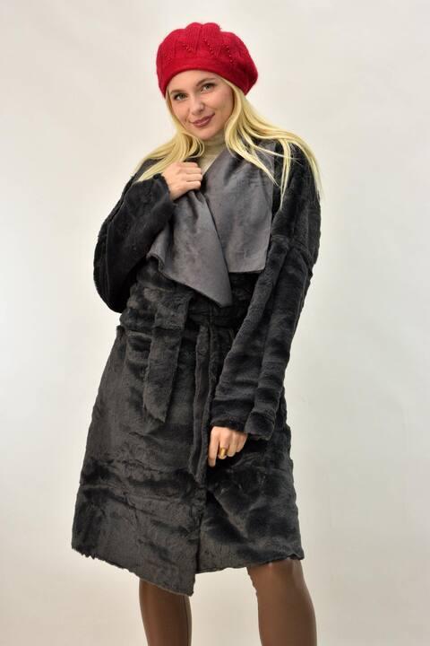 Παλτό μουτόν ντουμπλφας - Ανθρακί