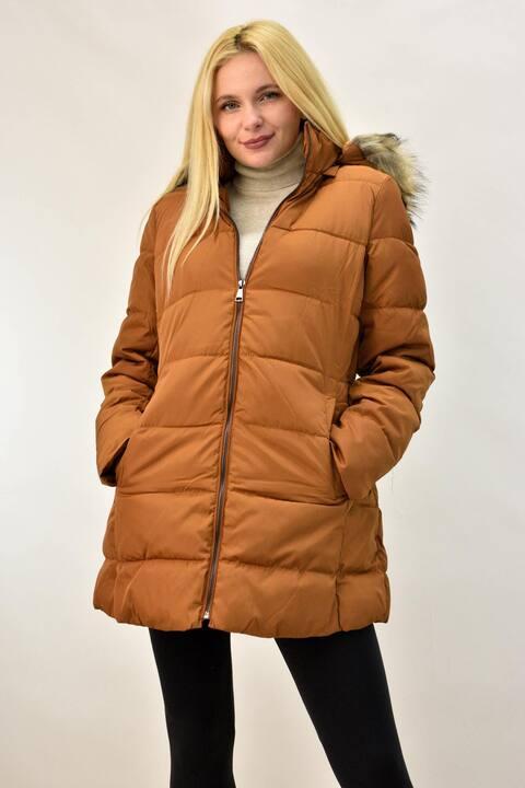 Γυναικείο μπουφάν με επένδυση γούνα  - Κανελί
