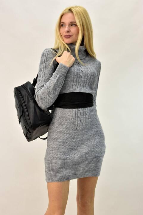 Μίνι φόρεμα με ζώνη - Γκρι
