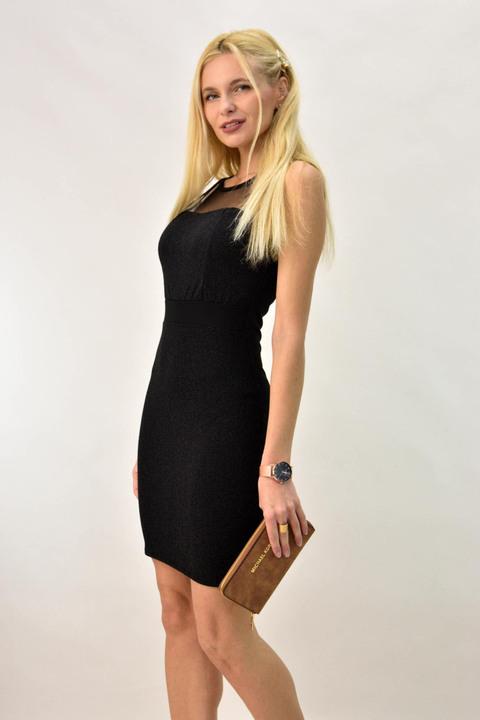 Μίνι φόρεμα με λούρεξ και διαφάνεια - Μαύρο
