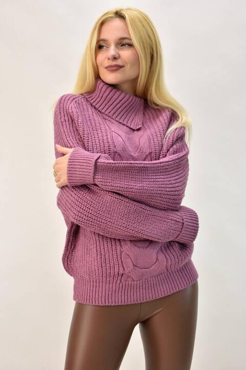 Γυναικεία μπλούζα με άνοιγμα στο ζιβάγκο  - Ροζ