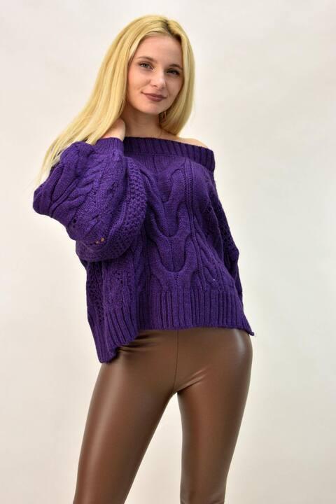 Γυναικεία πλεκτή μπλούζα με έξω ώμους - Μωβ
