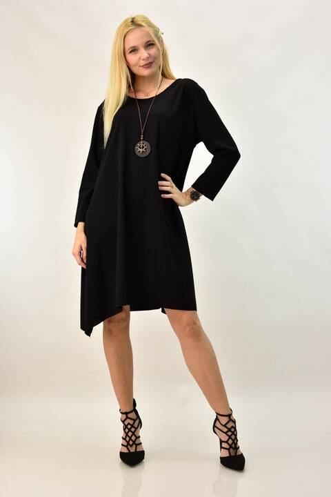 Γυναικείο φόρεμα σε άλφα γραμή με κολιέ - Μαύρο