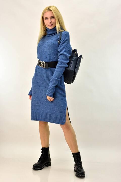 Γυναικείο φόρεμα με πον πον  - Γαλάζιο