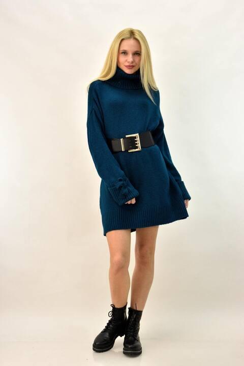 Κοντό πλεκτό φόρεμα με ζιβάγκο - Πετρόλ
