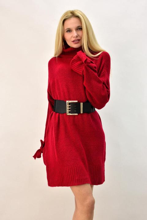 Κοντό πλεκτό φόρεμα με ζιβάγκο - Κόκκινο