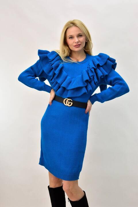 Γυναικείο πλεκτό κοντό φόρεμα με βολάν - Μπλε ρουά