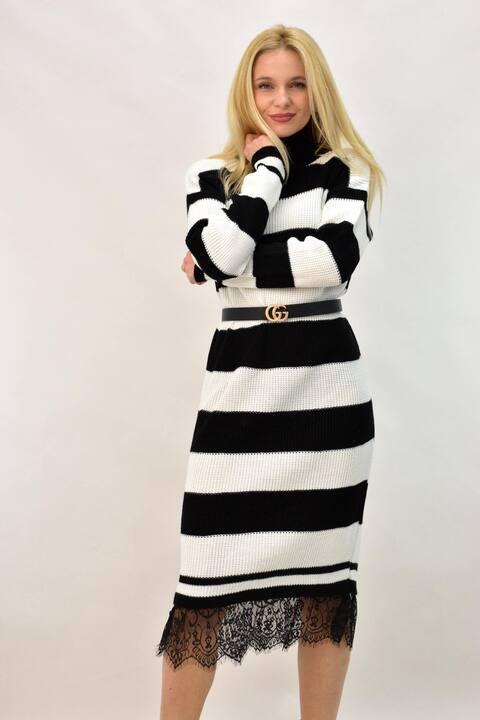 Πλεκτό μίντι φόρεμα με δαντέλα - Μαύρο