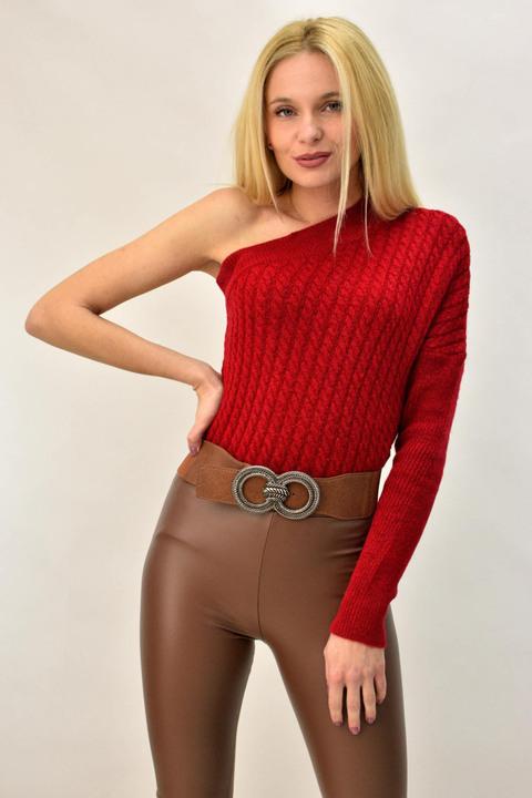 Γυναικείο πλεκτό με έναν ώμο - Κόκκινο