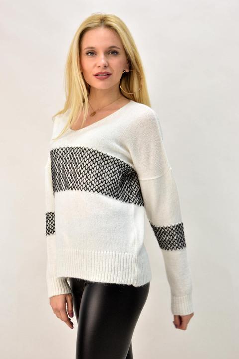 Γυναικεία πλεκτή μπλούζα με σχέδιο σε αντίθεση - Λευκό