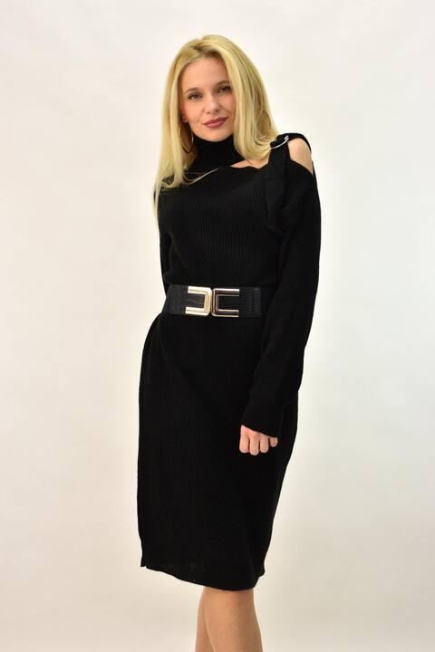 Γυναικείο πλεκτό φόρεμα με άνοιγμα στον ώμο - Μαύρο