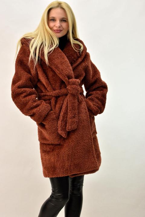Γυναικείο παλτό γούνα - Κεραμιδί