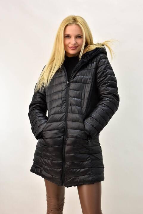 Γυναικείο μπουφάν με γούνα ντουμπλφας - Μαύρο