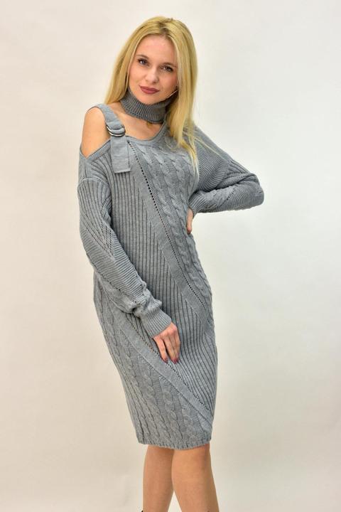 Γυναικείο πλεκτό φόρεμα με άνοιγμα στον ώμο - Γκρι