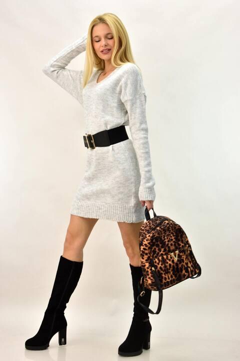 Γυναικείο πλεκτό φόρεμα - Γκρι