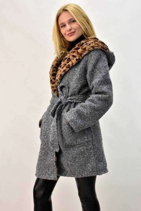 Παλτό ντουμπλφας σε animal print - Γκρι
