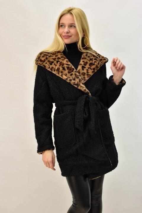 Παλτό ντουμπλφας με κουκούλα σε animal print - Μαύρο