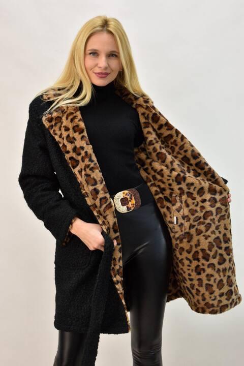 Γυναικείο παλτό ντουμπλφας - Μαύρο