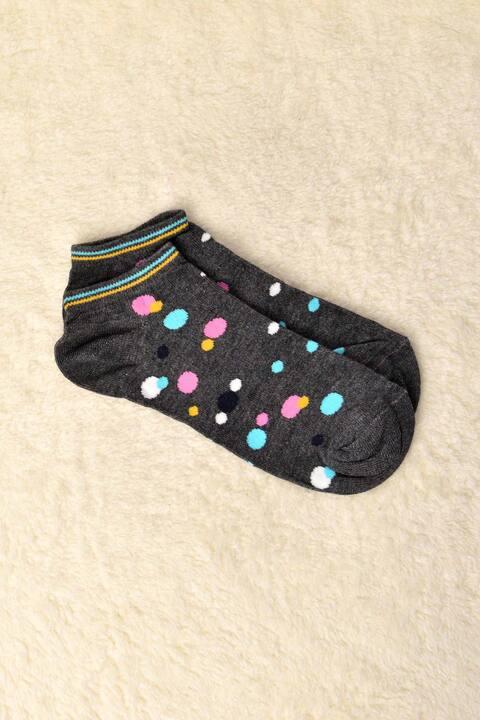 Γυναικείες κάλτσες με στρογγυλά σχέδια - Ανθρακί