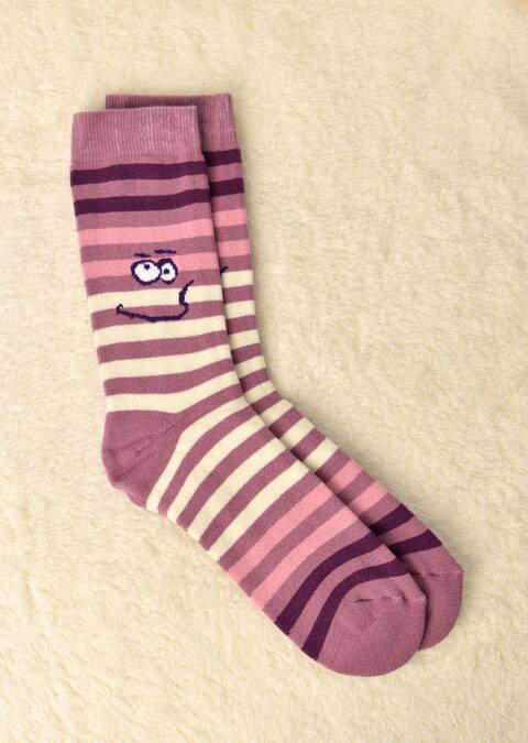 Γυναικείες κάλτσες με σχέδιο ριγέ και φάτσα - Ροζ