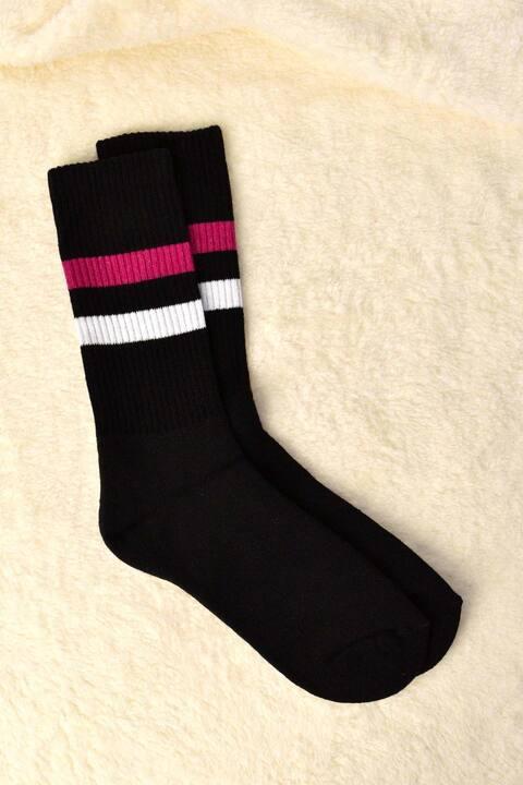 Γυναικείες κάλτσες με ριπ στην αρχή και ρίγες - Μαύρο