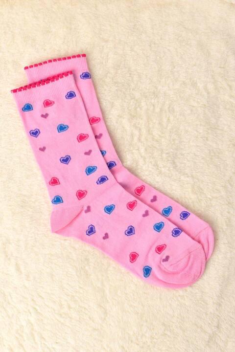 Γυναικείες κάλτσες με καρδούλες - Απαλό Ροζ