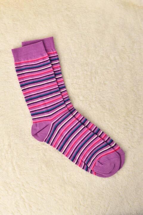 Γυναικείες Κάλτσες με σχέδιο ρίγα - Μωβ