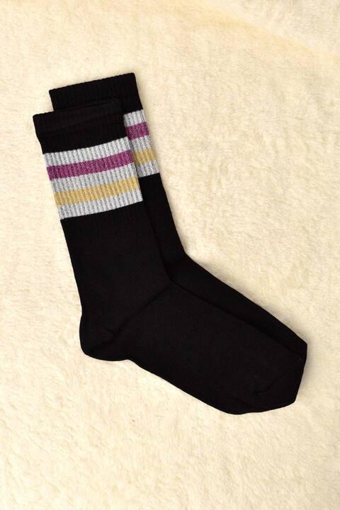 Γυναικείες μακριές κάλτσες με ασημοκλωστή ρίγες - Μαύρο