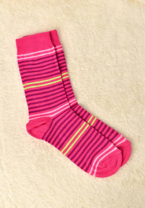 Γυναικείες κάλτσες με ρίγα  - Φούξια