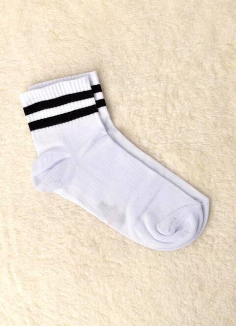 Γυναικείες κάλτσες με ρίγα - Λευκό