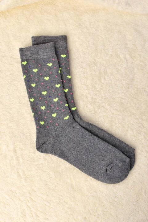 Γυναικείες κάλτσες με σχέδιο καρδούλες και στρογγυλά - Γκρι