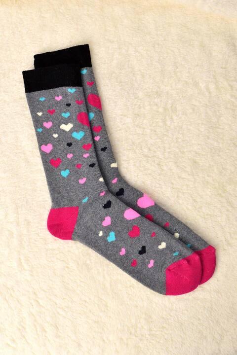 Γυναικείες κάλτσες με σχέδιο καρδιές και τελειώματα σε αντίθεση - Γκρι Μελανζ