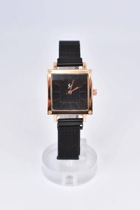 Ρολόι με τετράγωνο στεφάνι - Μαύρο