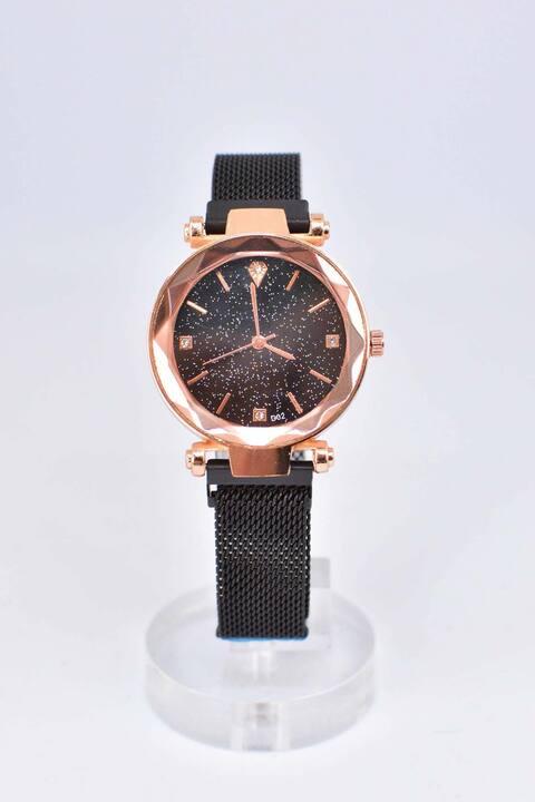 Ρολόι με μπρονζέ στεφάνι - Μαύρο