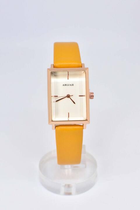 Ρολόι με τετράγωνο στεφάνι - Μουσταρδί