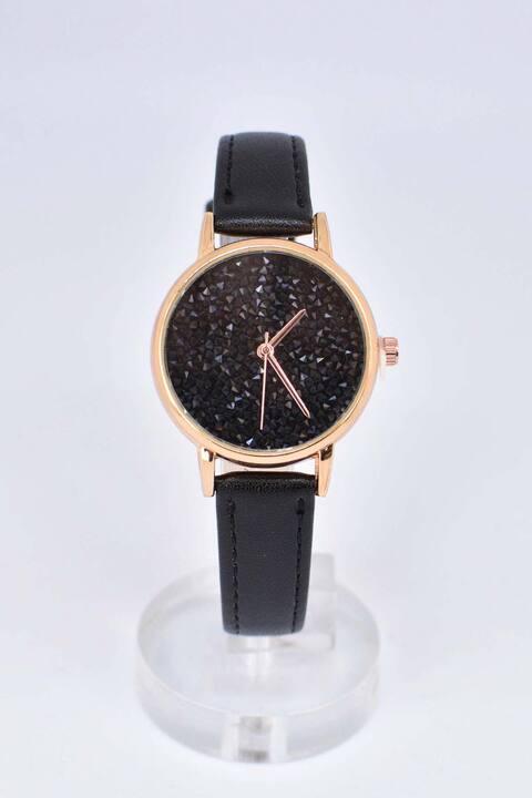 Ρολόι με ροζ χρυσό στεφάνι - Μαύρο