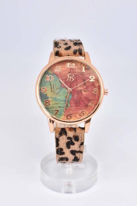 Ρολόι με ροζ χρυσό στεφάνι - Animal Print